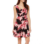 Danny & Nicole® Sleeveless Floral Print Fit-and-Flare Dress - Petite