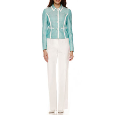 jcpenney.com | Isabella Long-Sleeve Button-Down Contrast-Trim Pant Suit - Petite