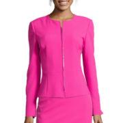 Chelsea Rose Long-Sleeve Zip-Front Peplum Jacket