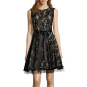 DJ Jaz Sleeveless Lace Fit-and-Flare Dress