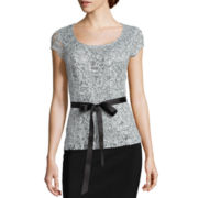 Blu Sage Short Sleeve Lace Blouse Tops