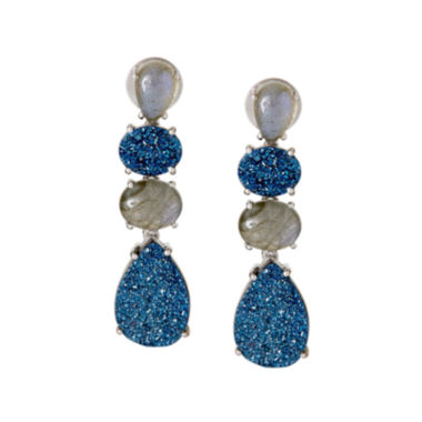 jcpenney.com | LIMITED QUANTITIES  Genuine Labradorite and Quartz Sterling Silver Drop Earrings