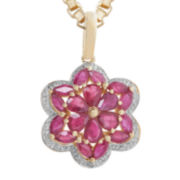CLOSEOUT! Lead Glass-Filled Ruby and Diamond-Accent Flower Pendant Necklace