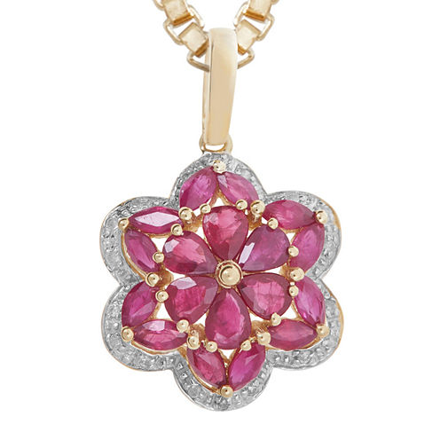 LIMITED QUANTITIES  Lead Glass-Filled Ruby and Diamond-Accent Flower Pendant Necklace