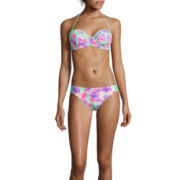 Arizona Floral Colorblock Pushup Bandeau Swim Top or Hipster Swim Bottoms - Juniors