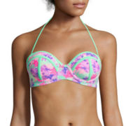 Arizona Floral Colorblock Pushup Bandeau Swim Top - Juniors
