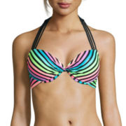 Arizona® Foil Stripe Pushup Halter Swim Top - Juniors