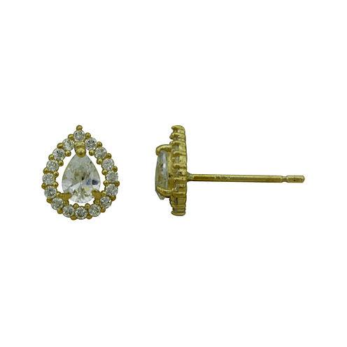 Petite Lux™ Cubic Zirconia 10K Yellow Gold Pear-Shaped Stud Earrings