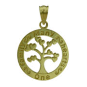 10K Yellow Gold Family Tree Charm Pendant