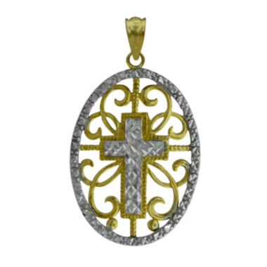 jcpenney.com | 10K Two-Tone Gold Round Cross Charm Pendant