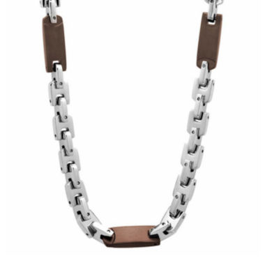 "jcpenney.com | Mens Two-Tone Stainless Steel 24"" Chain Station Necklace"