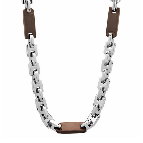"""Mens Two-Tone Stainless Steel 24"""" Chain Station Necklace"""