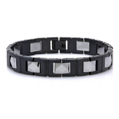 jcpenney.com | Mens Two-Tone Black IP Stainless Steel with Tungsten Chain Bracelet