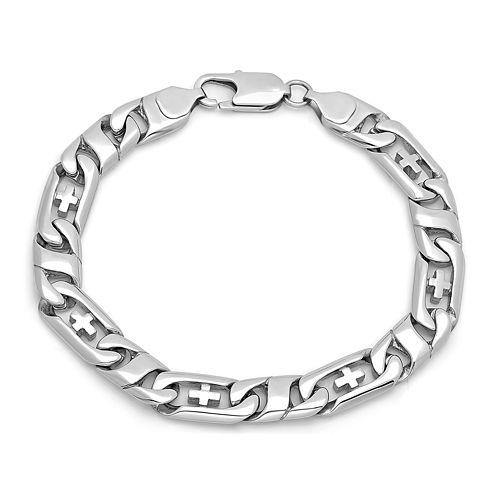 Mens Stainless Steel Cross Link Bracelet