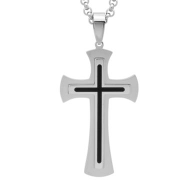 jcpenney.com | Mens Two-Tone Stainless Steel and Black Resin Fleur de Lis Cross Pendant Necklace