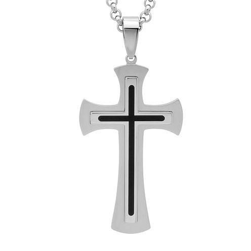 Mens Two-Tone Stainless Steel and Black Resin Fleur de Lis Cross Pendant Necklace