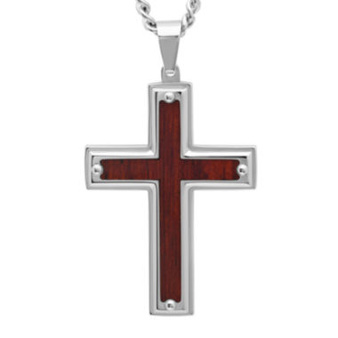 jcpenney.com | Mens Stainless Steel and Wood-Grained Carbon Fiber Inlay Pendant Necklace