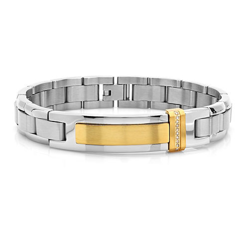 Mens Diamond-Accent Two-Tone Stainless Steel and Yellow IP Bracelet