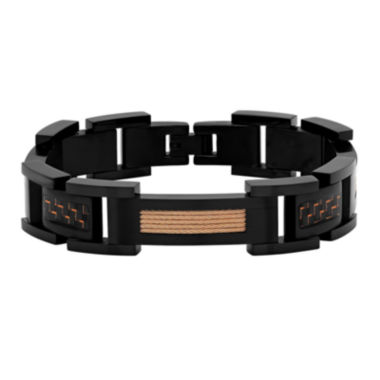 jcpenney.com | Mens Black IP Stainless Steel Rose-Tone Cable Bracelet