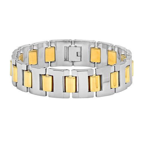 Mens Two-Tone Tungsten Carbide Bracelet