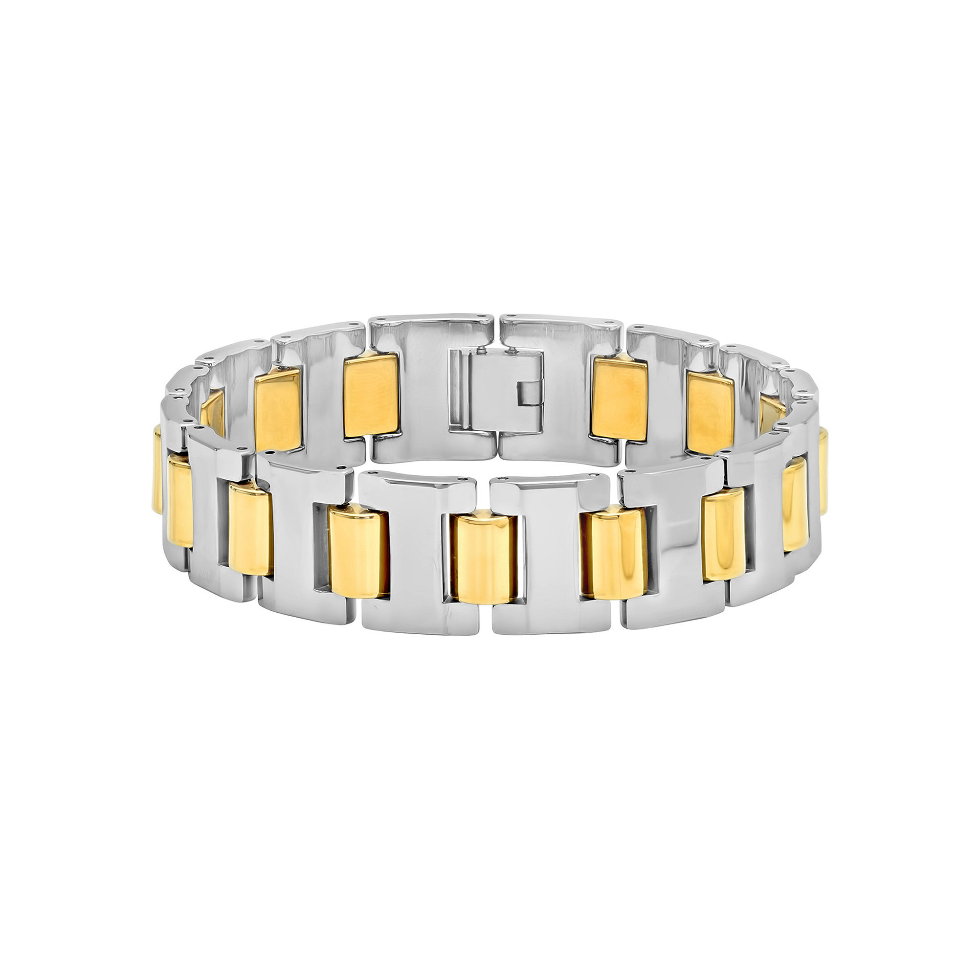 Mens Two-Tone Tungsten Carbide Bracelet