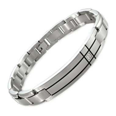 jcpenney.com |  Mens Diamond-Accent Stainless Steel ID Bracelet