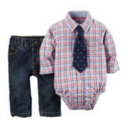 Carter's® Plaid Shirt, Jeans and Clip-On Tie Set - Baby Boys newborn-24m