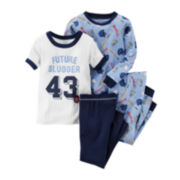 Carter's® 4-pc. Baseball Pajama Set - Preschool Boys 4-7