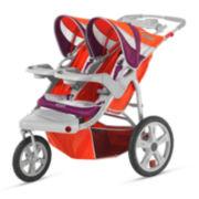 Schwinn® Flight Swivel Double Jogging Stroller - Poppy Red and Maroon