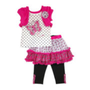 Nanette Baby Butterfly Top, Skirt and Leggings Set - Toddler Girls 2t-4t