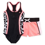 ZeroXposur® 1-Piece Swimsuit and Shorts Set - Girls Plus