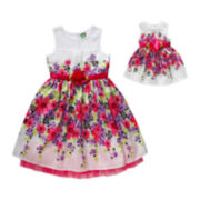 Dollie & Me Sleeveless Floral Print Dress - Girls 7-14