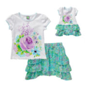 Dollie & Me Flower Print Top and Scooter Set - Girls 7-14