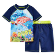 Baby Buns Rash Guard and Swim Trunks Set - Toddler Boys 2t-4t