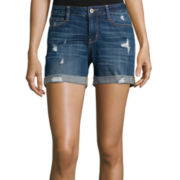 Arizona Destructed Boyfriend Shorts - Juniors