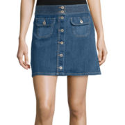 Arizona Button-Front Denim Skirt - Juniors