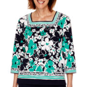 Alfred Dunner® Costa Allegra 3/4-Sleeve Floral Border T-Shirt - Petite