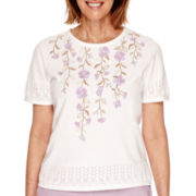 Alfred Dunner® Lavender Fields Short-Sleeve Floral-Yoke Sweater - Petite
