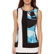 Worthington® Sleeveless Colorblock T-Shirt - Petite