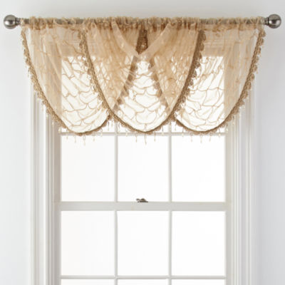 Royal Velvet® Geneva Embroidered Rod-Pocket Sheer Waterfall Valance