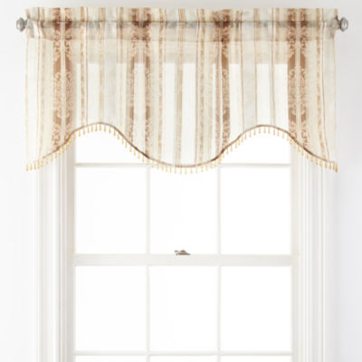 Home Expressions™ Regan Rod-Pocket Sheer Scalloped Valance