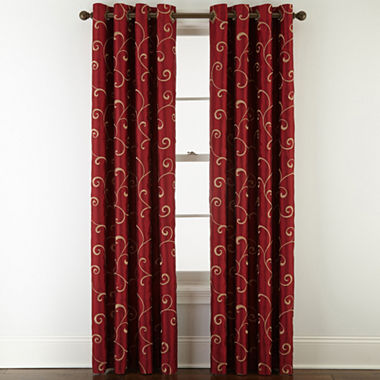 Royal Velvet Plaza Embroidery Blackout Grommet Top Curtain Panel Jcpenney