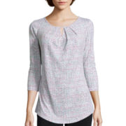 Liz Claiborne® 3/4-Sleeve Pleated Split-Neck Top