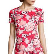 Liz Claiborne® Short-Sleeve Floral Print Peplum Top