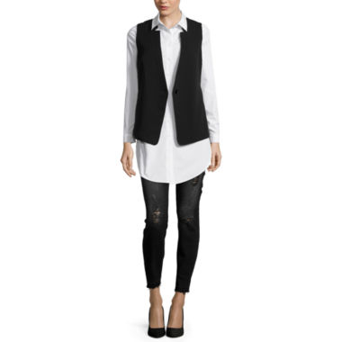 jcpenney.com | BELLE + SKY™ Sheer-Back Vest, Button-Down Tunic Top or Skinny Jeans