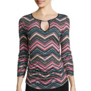 Bisou Bisou® Long-Sleeve Shirt-Tail Top