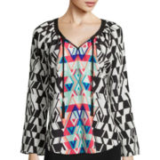Bisou Bisou® Long-Sleeve Shirred Tassle Top