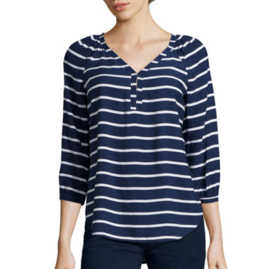 jcpenney.com | St. John's Bay® 3/4 Sleeve V-Neck Peasant Shirt