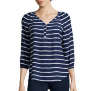 St. John's Bay® 3/4 Sleeve V-Neck Peasant Shirt
