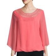Alyx® Long-Sleeve Crochet-Yoke Top